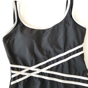 Catalina swimsuit black with white line design